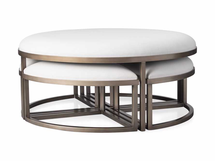 """Palmer Upholstered 42"""" Round Nesting Coffee Table in Antique Brass, slide 6 of 6"""