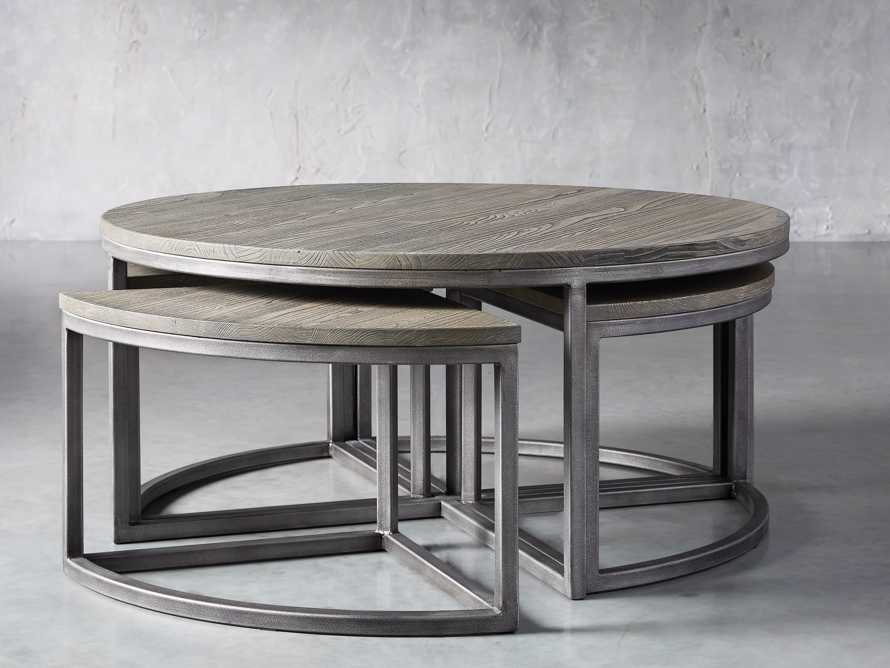 Palmer Round Nestling Coffee Table in Stone on Ash, slide 3 of 8