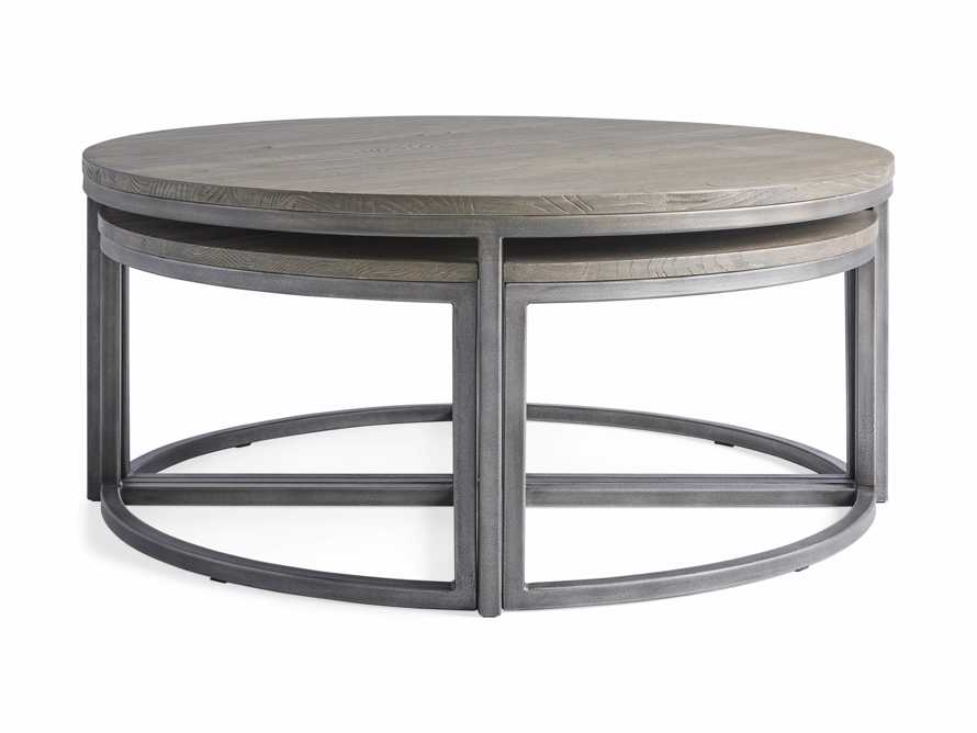 Palmer Round Nestling Coffee Table in Stone on Ash