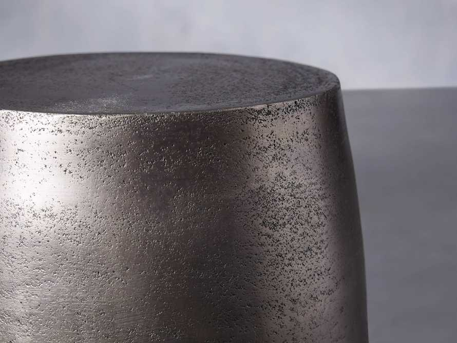 "Hammered 11"" Silver Drum End Table"