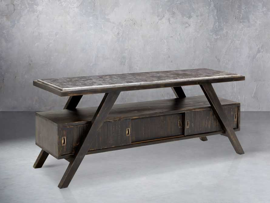 """A-Frame 70"""" TV Console in Barnwood Black"""