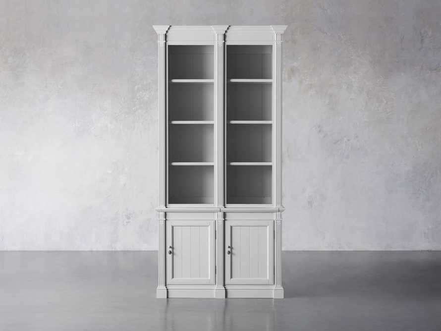 Athens Modular Double Narrow Bookcase in Nimbus, slide 2 of 6