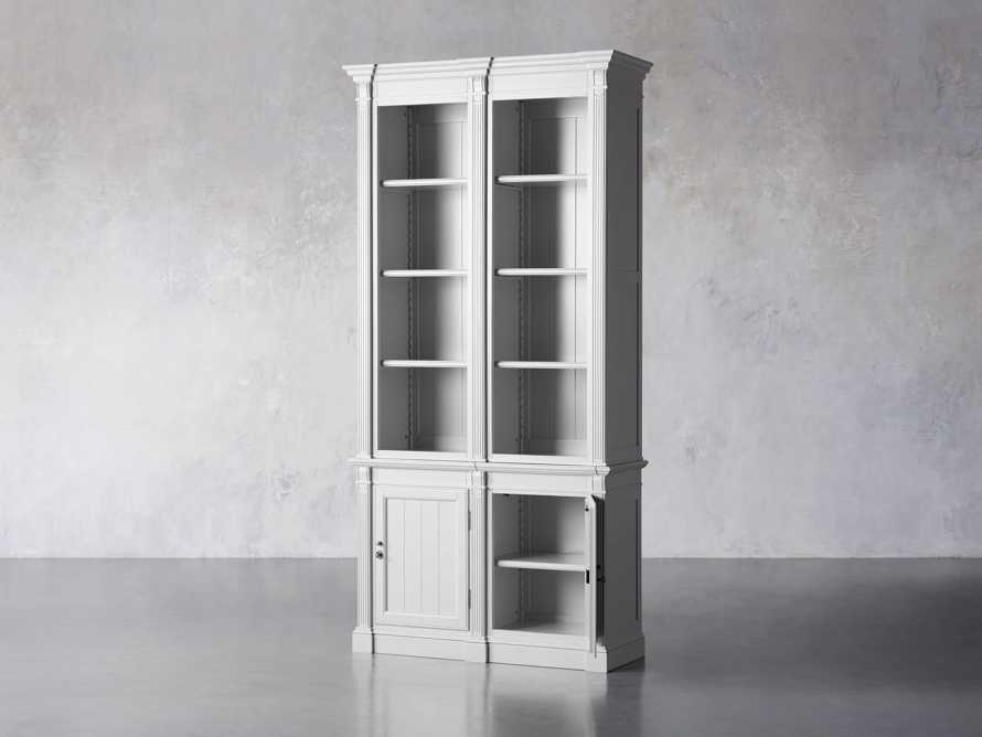 Athens Modular Double Narrow Bookcase in Nimbus, slide 4 of 6