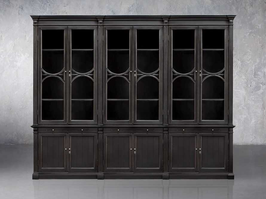 Athens Modular Triple Display Cabinet In Tuxedo Black, slide 1 of 2