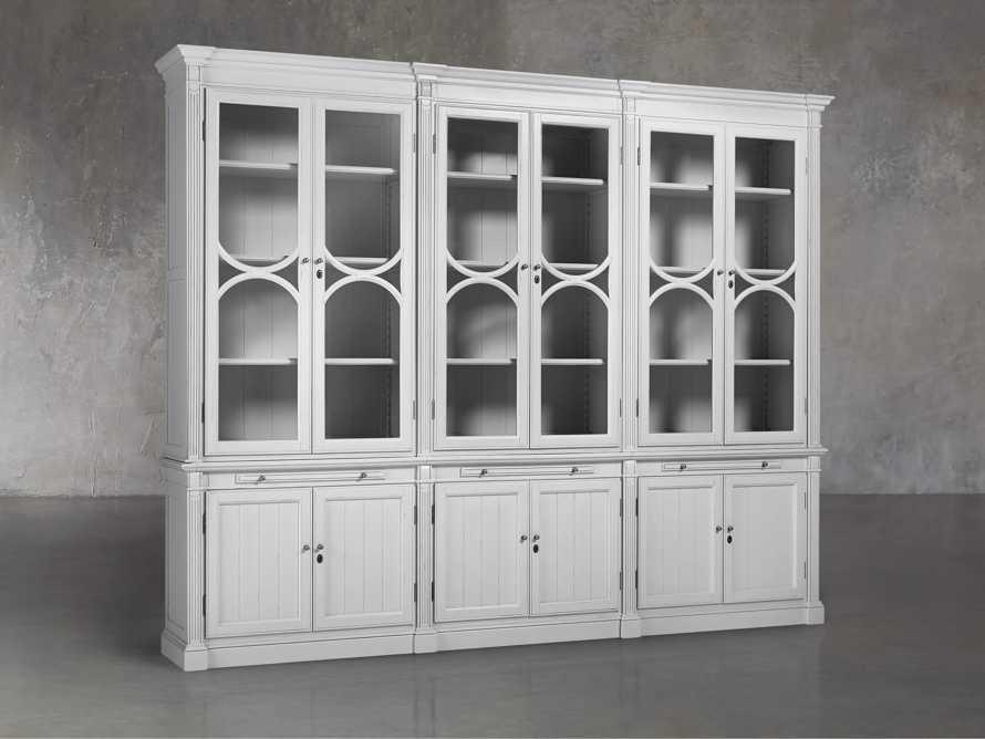 Athens Modular Triple Display Cabinet in Nimbus, slide 3 of 7