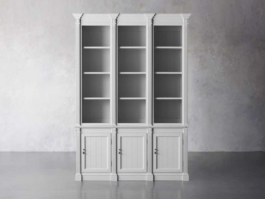 Athens Modular Triple Narrow Bookcase in Nimbus, slide 2 of 8