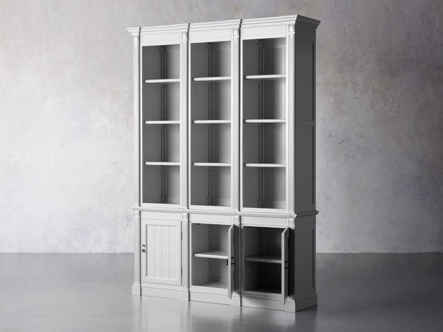 Athens Modular Triple Narrow Bookcase in Nimbus, slide 4 of 8