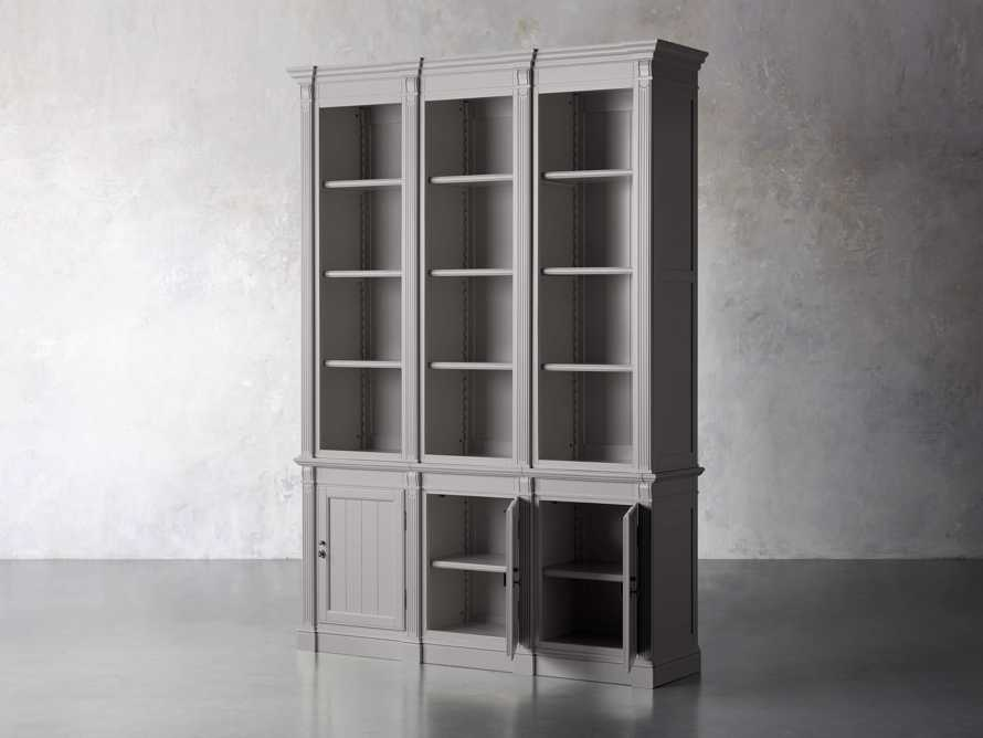 Athens Modular Triple Narrow Bookcase in Stratus, slide 3 of 6