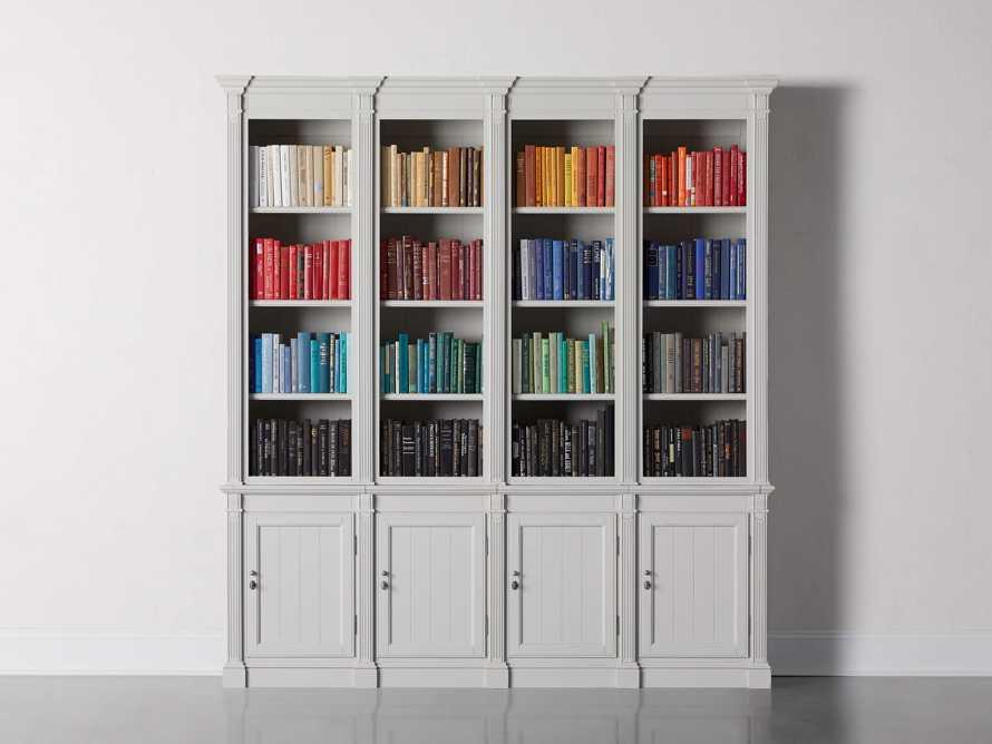 Athens Modular Quadruple Narrow Bookcase in Nimbus, slide 1 of 13