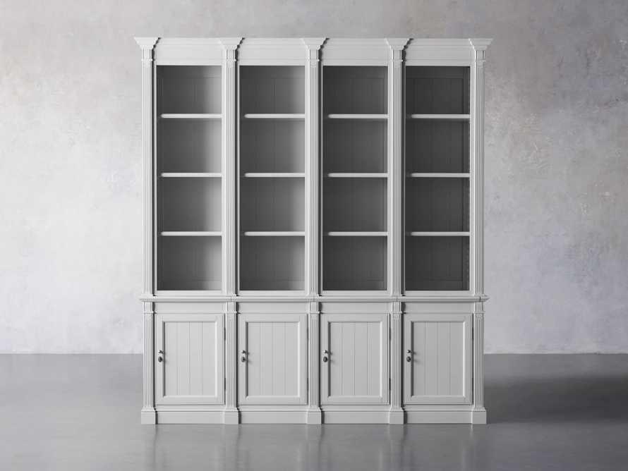 Athens Modular Quadruple Narrow Bookcase in Nimbus, slide 2 of 13
