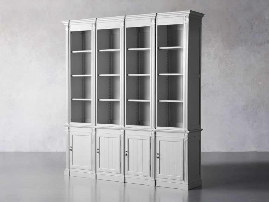 Athens Modular Quadruple Narrow Bookcase in Nimbus, slide 3 of 13