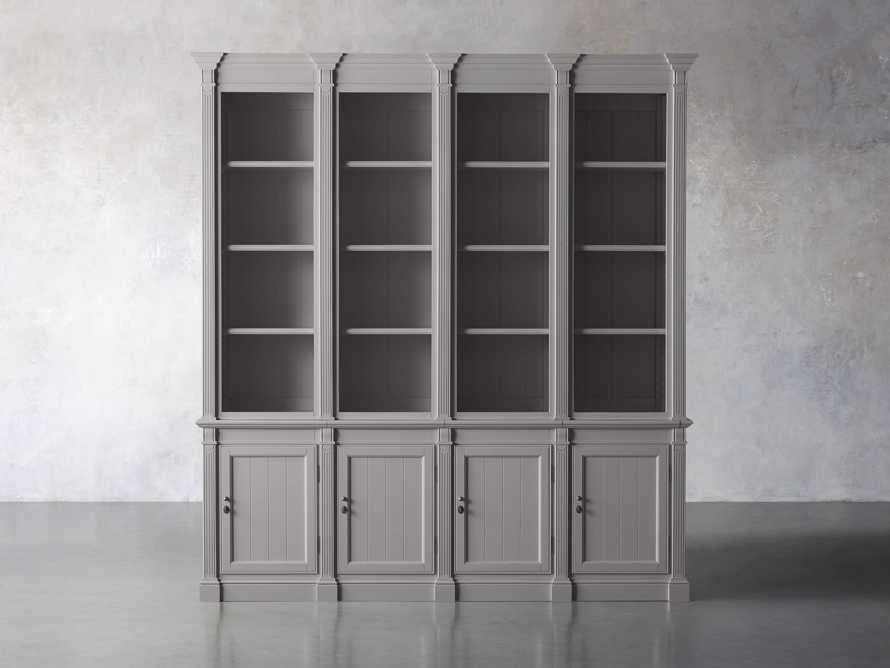 Athens Modular Quadruple Narrow Bookcase in Stratus, slide 1 of 12