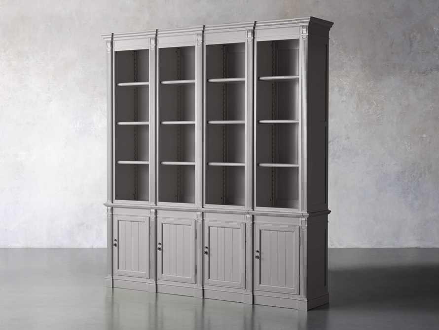 Athens Modular Quadruple Narrow Bookcase in Stratus, slide 2 of 12