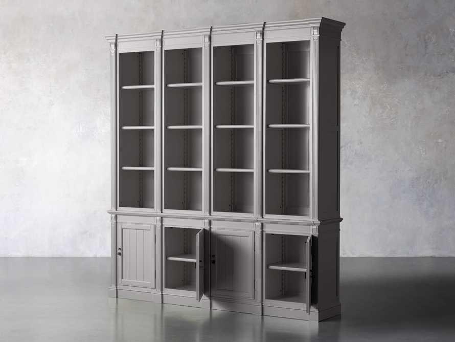 Athens Modular Quadruple Narrow Bookcase in Stratus, slide 3 of 12