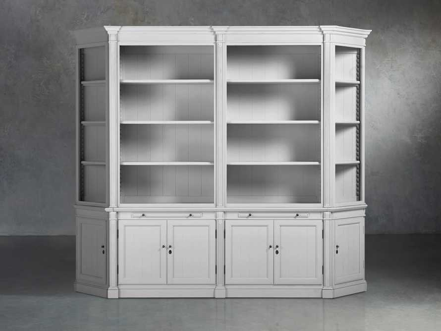 Athens Modular Double Bookcase with Angled Bookcases in Nimbus, slide 1 of 6