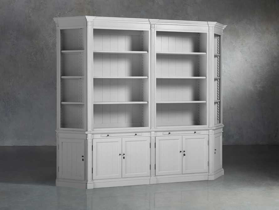 Athens Modular Double Bookcase with Angled Bookcases in Nimbus, slide 2 of 6