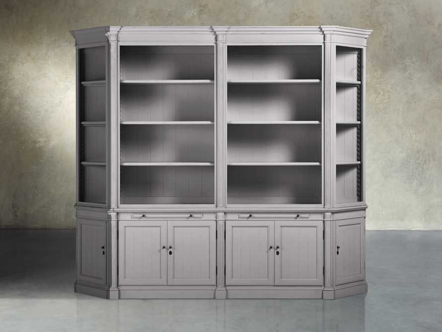 Athens Double Bookcase with Angled Bookcases in Stratus, slide 1 of 4