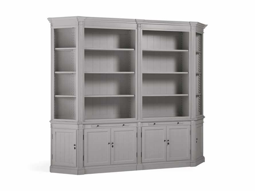 Athens Double Bookcase with Angled Bookcases in Stratus, slide 3 of 4