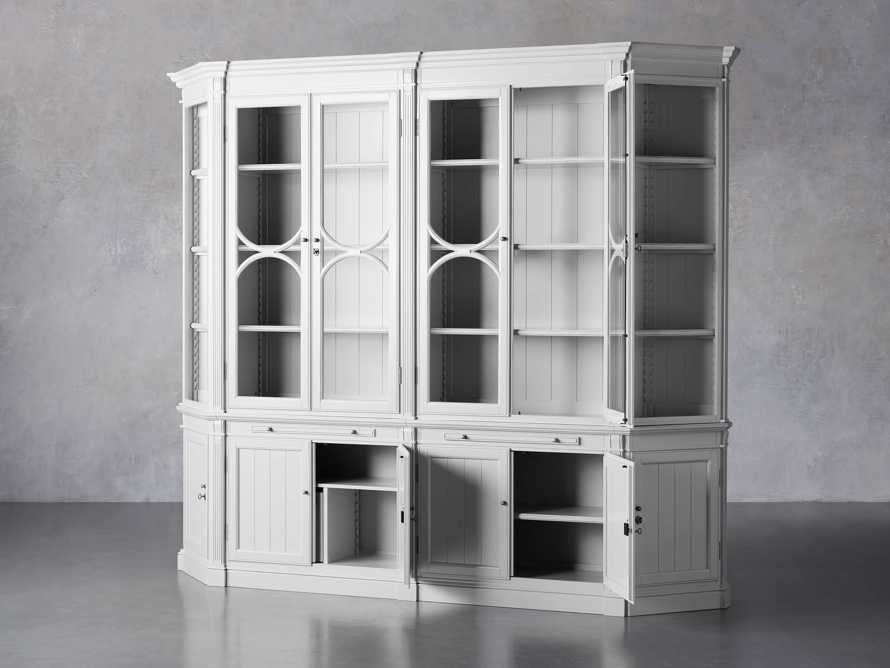 Athens Modular Double Display Cabinet with Angled Bookcases in Nimbus, slide 4 of 11