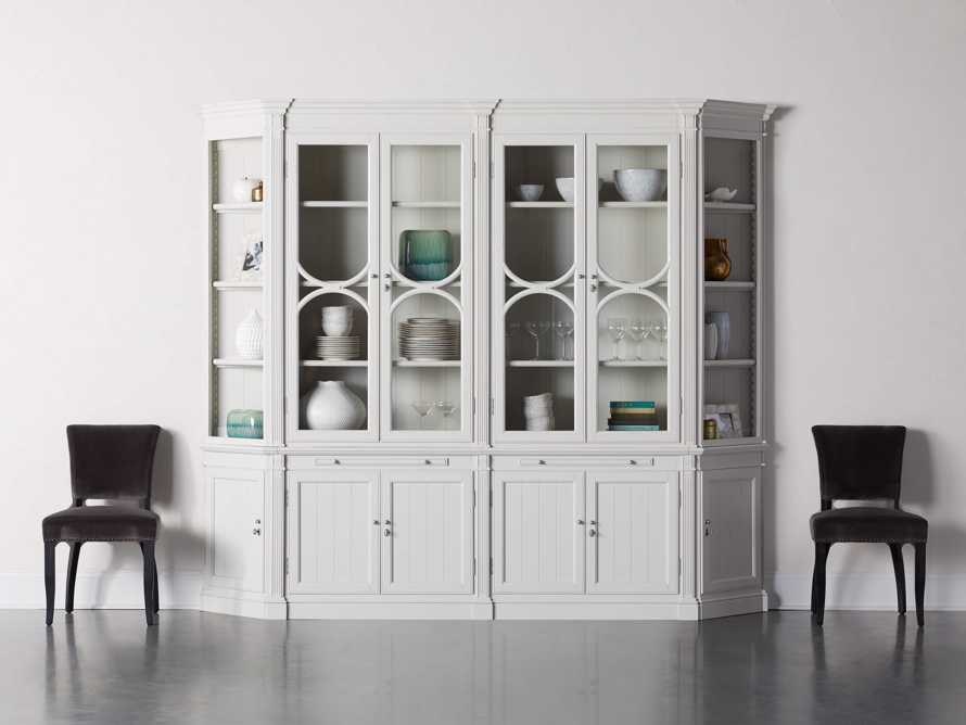 Athens Modular Double Display Cabinet with Angled Bookcases in Nimbus, slide 1 of 11