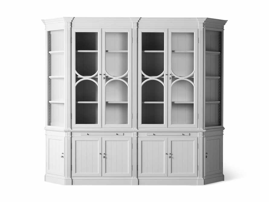 Athens Modular Double Display Cabinet with Angled Bookcases in Nimbus, slide 10 of 11