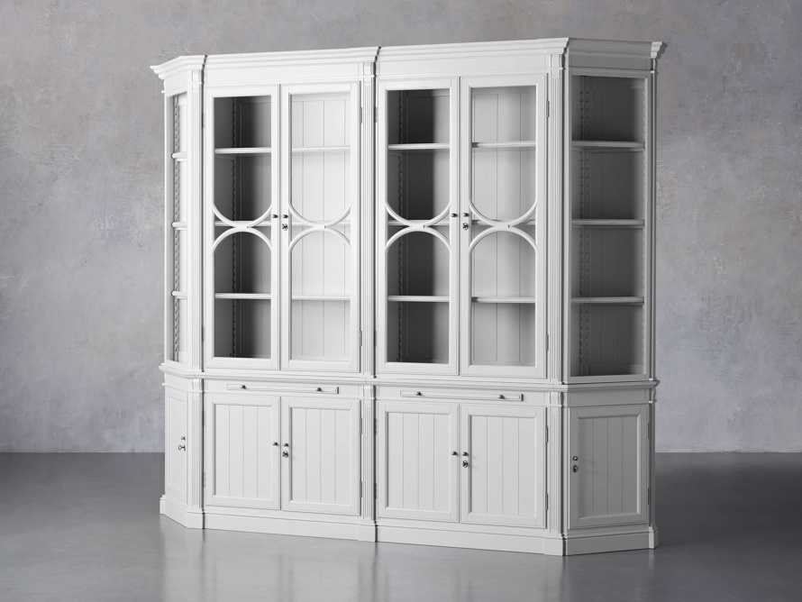 Athens Modular Double Display Cabinet with Angled Bookcases in Nimbus, slide 3 of 11