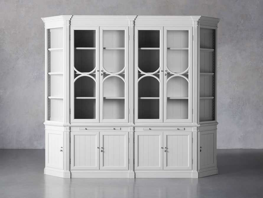 Athens Modular Double Display Cabinet with Angled Bookcases in Nimbus, slide 2 of 11