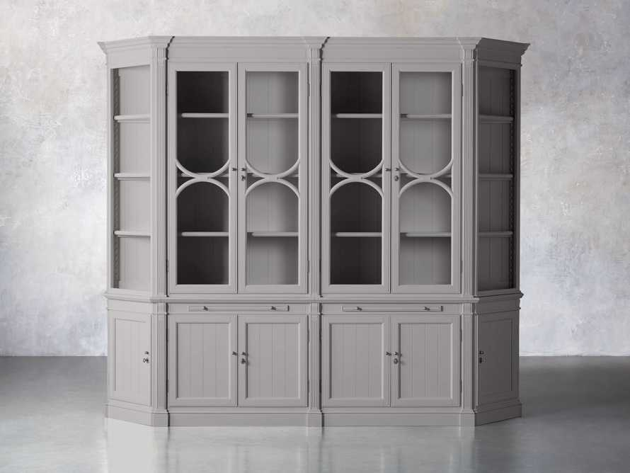 Athens Modular Double Display Cabinet with Angled Bookcases in Stratus, slide 1 of 10