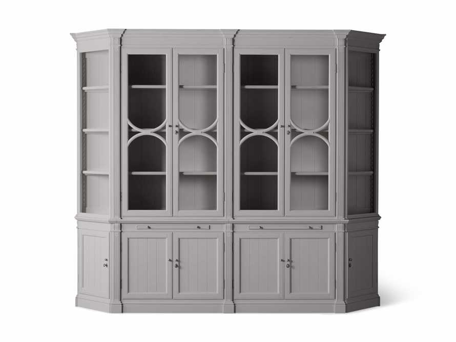 Athens Modular Double Display Cabinet with Angled Bookcases in Stratus, slide 9 of 10