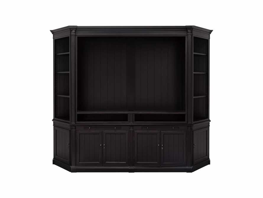 Athens Modular Media Cabinet with Angled Bookcases in Black