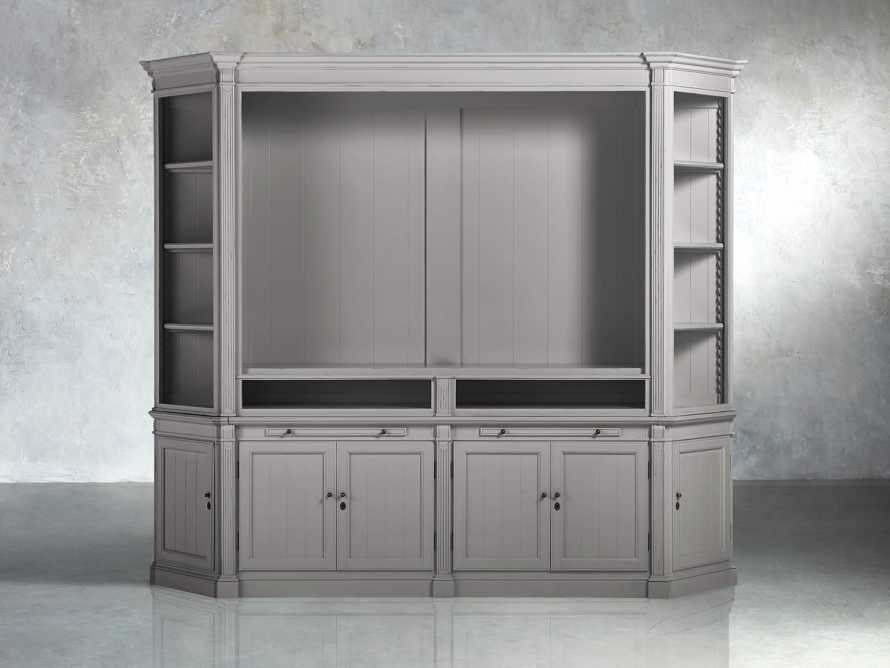 Athens Modular Media Cabinet with Angled Bookcases in Stratus, slide 1 of 5