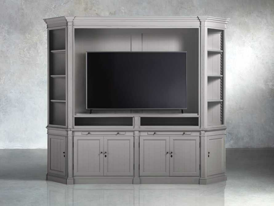 Athens Modular Media Cabinet with Angled Bookcases in Stratus, slide 5 of 5