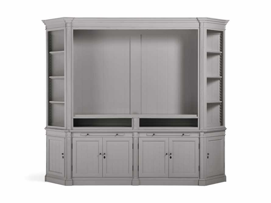 Athens Modular Media Cabinet with Angled Bookcases in Stratus, slide 2 of 5