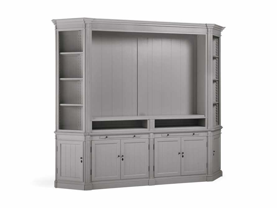 Athens Modular Media Cabinet with Angled Bookcases in Stratus, slide 3 of 5