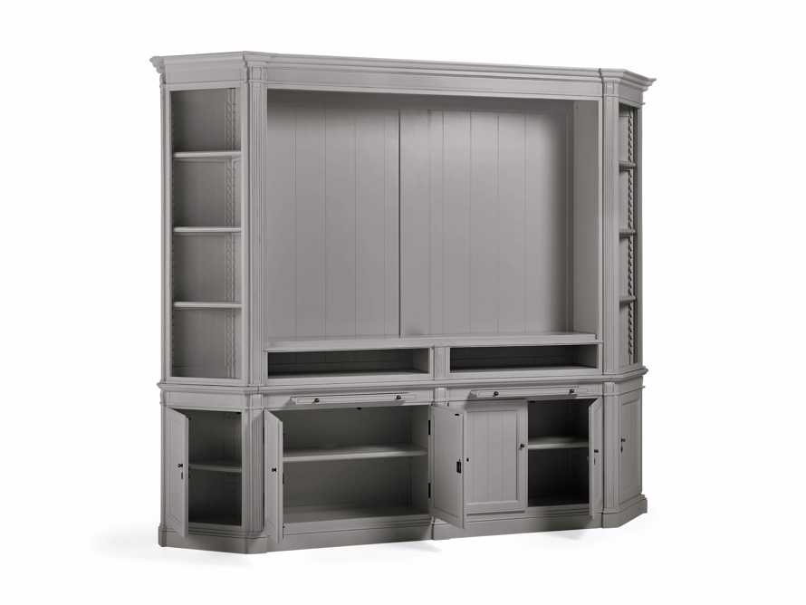 Athens Modular Media Cabinet with Angled Bookcases in Stratus, slide 4 of 5