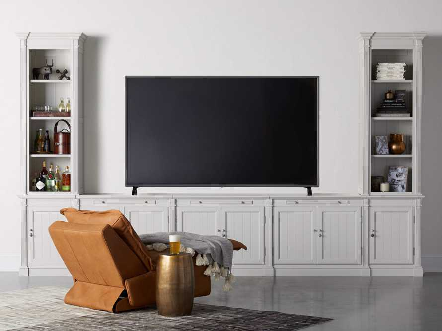 Athens Modular Large Media Console with Double Narrow Bookcases, slide 1 of 8