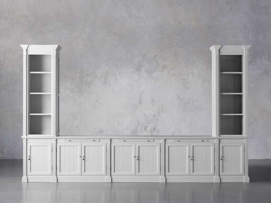 Athens Modular Large Media Console with Double Narrow Bookcases, slide 2 of 8