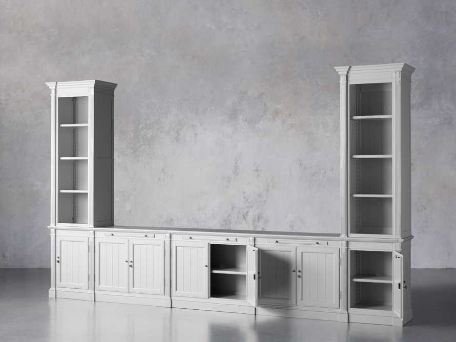 Athens Modular Large Media Console with Double Narrow Bookcases, slide 4 of 8