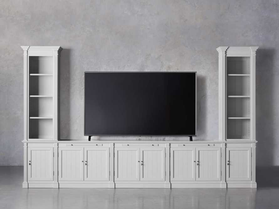 Athens Modular Large Media Console with Double Narrow Bookcases, slide 6 of 8