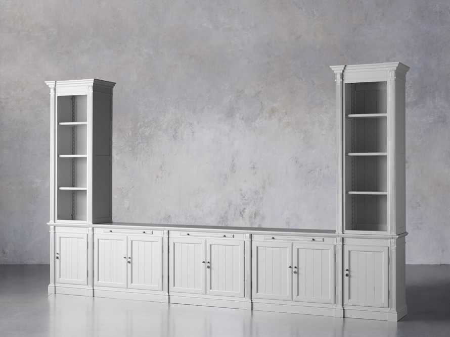 Athens Modular Large Media Console with Double Narrow Bookcases, slide 3 of 8