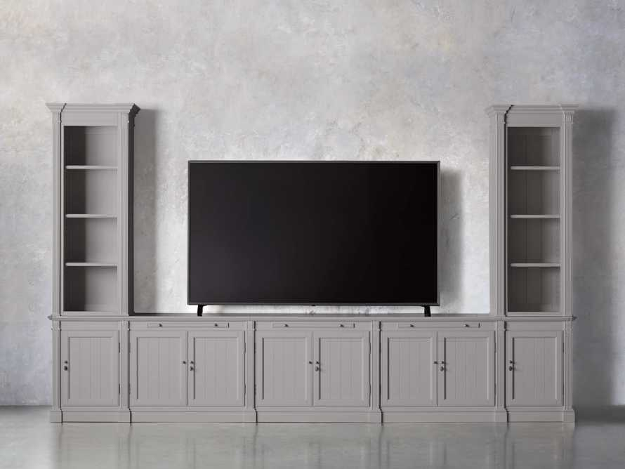 Athens Modular Large Media Console with Double Narrow Bookcases in Stratus, slide 5 of 7