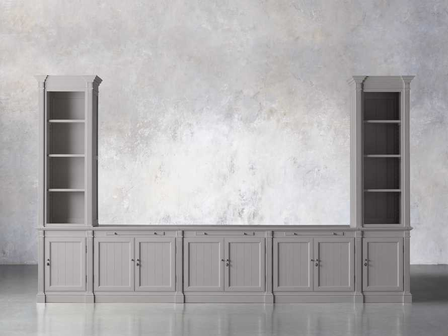 Athens Modular Large Media Console with Double Narrow Bookcases in Stratus, slide 1 of 7