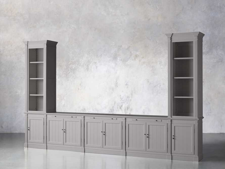 Athens Modular Large Media Console with Double Narrow Bookcases in Stratus, slide 2 of 7