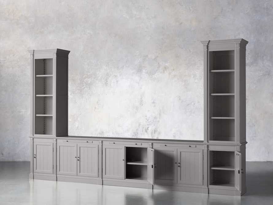 Athens Modular Large Media Console with Double Narrow Bookcases in Stratus, slide 3 of 7