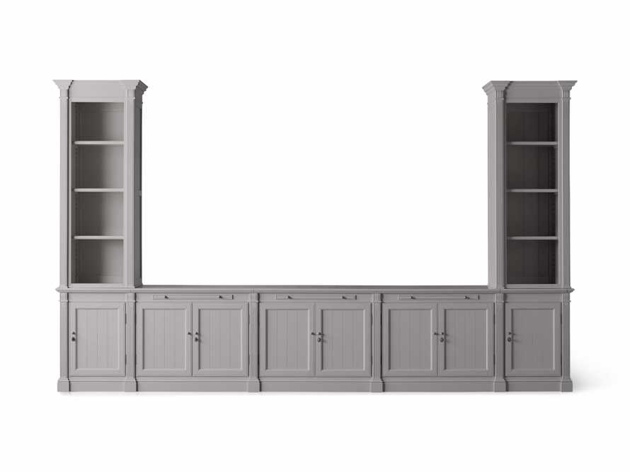 Athens Modular Large Media Console with Double Narrow Bookcases in Stratus, slide 6 of 7