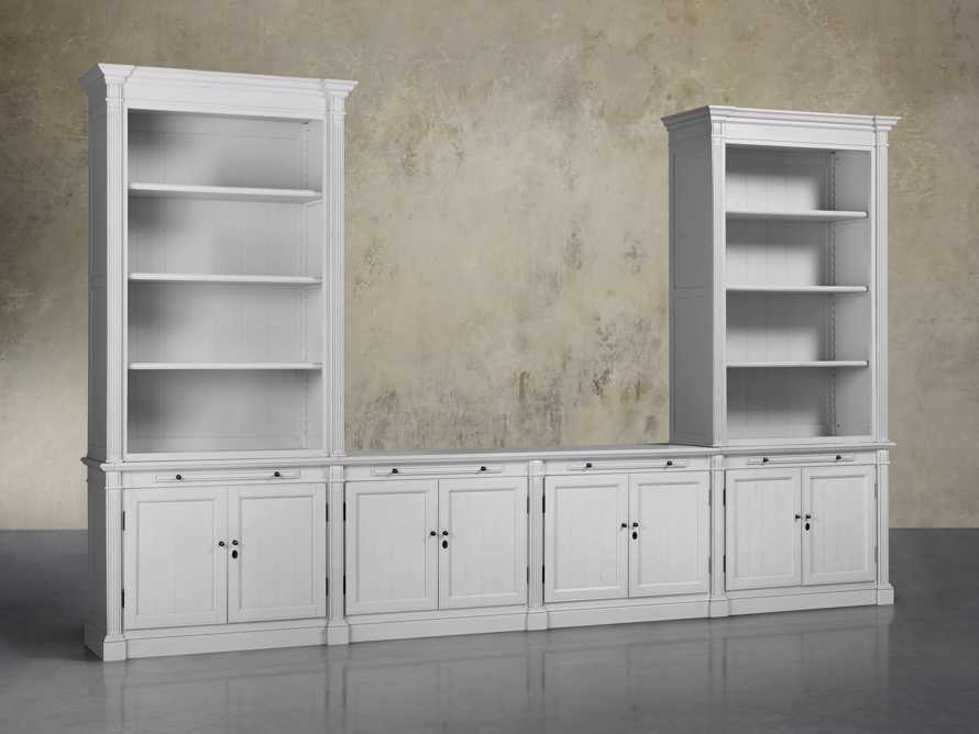 Athens Modular Media Console with Double Bookcases in Nimbus, slide 2 of 6