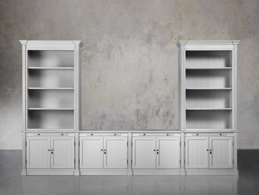 Athens Modular Media Console with Double Bookcases in Nimbus, slide 1 of 6