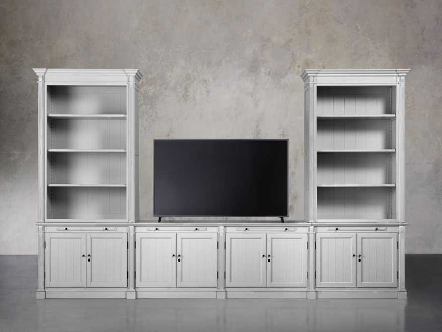 Athens Modular Media Console with Double Bookcases in Nimbus, slide 4 of 6