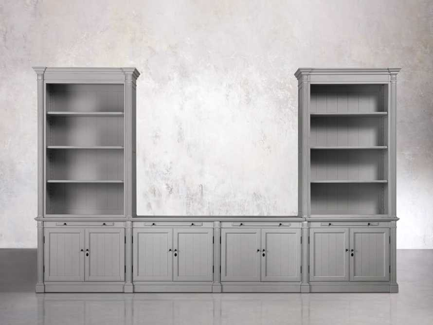 Athens Modular Media Console with Double Bookcases in Stratus, slide 1 of 5