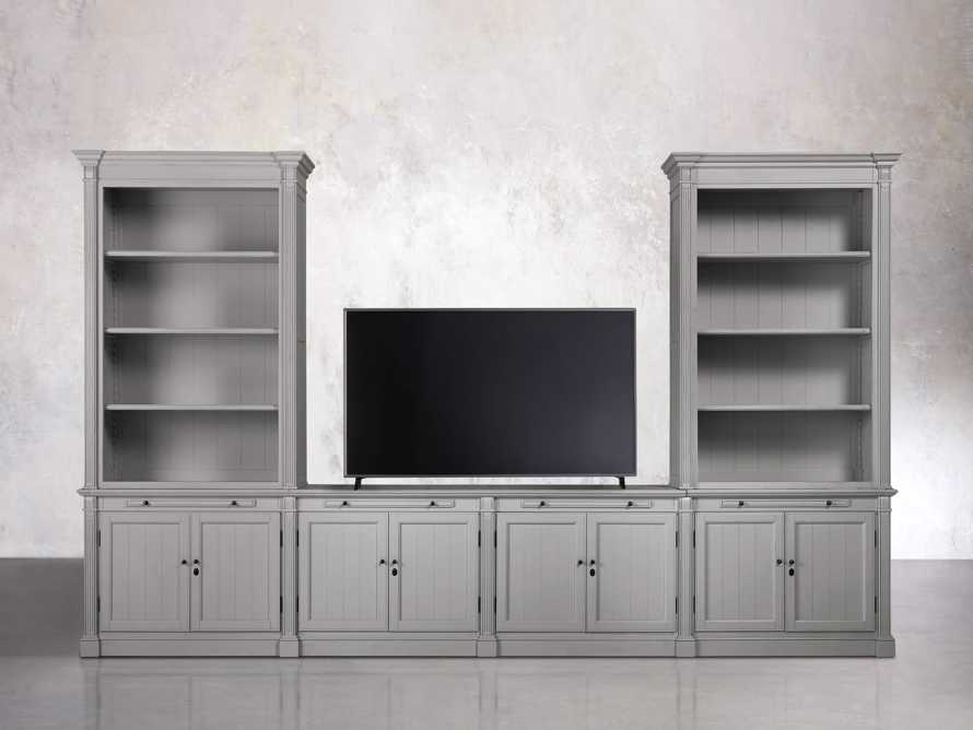 Athens Modular Media Console with Double Bookcases in Stratus, slide 2 of 5